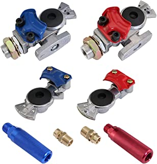 boeray Aluminum Emergency Gladhand Valve Universal Glad Hands and Air Hose Brake Coupling Service Handshake Anodized Aluminum Glad Handle for Truck Semi Trailer RVs Big Bubba All Aluminum Drop Deck