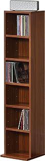 [en.casa] Étagère CD Tour CD/DVD Rangement Stockage 6 Surfaces de Stockage 90 x 20 x 20 cm MDF Mélaminé Effet Noyer