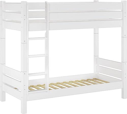 Erst-Holz 0.16-10 W T100 Etagenbett für Erwachsene Weiß100x200cm  , Nische 100cm  , teilbar, mit 2 Rollroste