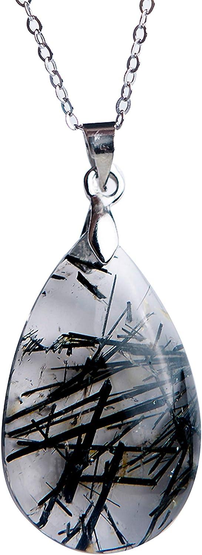 LiZiFang Natural Black Rutilated Quartz Gemstone Healing Crystal Water Drop Bead Pendant AAA