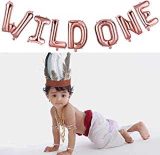 Native America Style Crown-Kids Birthday Hat, Baby Birthday Decorations with 16 INCH Rose Gold Letters Banner Wild One Kids Balloons, Boy Girl Party Supplies, Photo Props