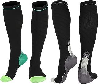 Bridawn 2pk Compression Socks Men Women 20-30 mmHg Support Stocking Running Pregnancy Travel