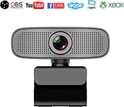 Full HD 1080P Webcam Streaming Xbox one,YouTube,OBS Twitch Compatible Skype Webcam Built-in Dual Microphones Computer Camera Compatible for Mac Windows 10/8/7