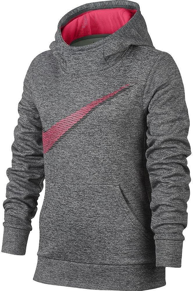 Nike Girl's Therma Training Hoodie Dark Grey Heather/Racer Pink Size Large