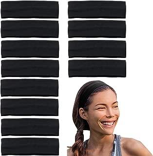 Stretchy Headbands - Yoga Headbands - Sports Headbands - 2-Inch-Wide Black Headband - 12 Pack Cotton Headbands by CoverYourHair