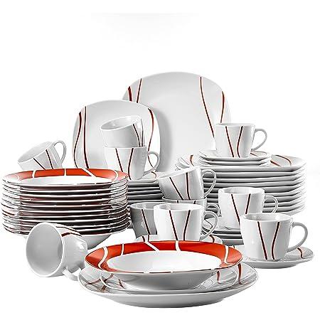 MALACASA, Série Felisa, 60pcs Services de Table Complets Porcelaine, 12 Tasses, 12 sous-Tasses, 12 Assiettes à Dessert,12 Assiettes à Soupe Creuse, 12 Assiettes Plates Plat pour 12 Personnes