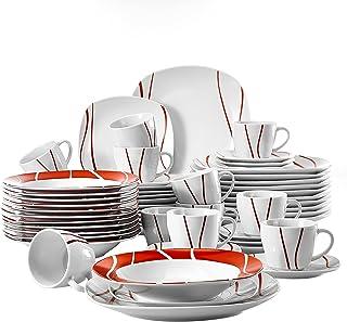 MALACASA, Série Felisa, 60pcs Services de Table Complets Porcelaine, 12 Tasses, 12 sous-Tasses, 12 Assiettes à Dessert,12 ...