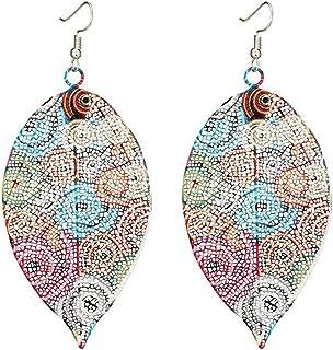 Myhouse Hollow Leaf Print Earrings Vintage Ethnic Ear Pendant Metallic Color Earrings