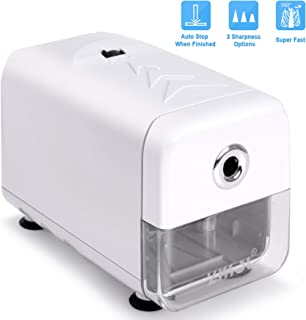 Electric Pencil Sharpener,Heavy Duty Helical Blade and Auto-Stop Feature,Durable Indrustial Pencil Sharpener Plug in for NO. 2/Colored Pencils (6.5-8mm),Suitable for Office,School,Classroom (WHITE)