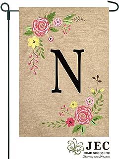 JEC Home Goods Floral Monogram Garden Flag - Summer or Spring Garden Flag 12.5 x 18 (N)