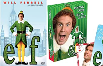 Double Elves Spirited Christmas... ELF DVD Movie Will Ferrell + Cards & Scenes of Buddy Santa's Elf Holiday Comedy 2-Pack