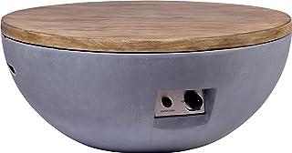 dobar Runder Outdoor Lava-Ofen mit Lavasteinen, Propangas-Flamme, Magnesium-Feuerstelle Feuerschale, Grau, 90 x 90 x 40 cm