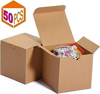 HOUSE DAY Cajas de regalo 7.6x7.6x7.6cm, cajas de papel blanco con tapas para regalos, manualidades, cajas de embalaje de magdalenas (50 piezas) (natural)
