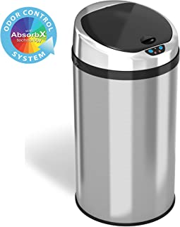 iTouchless 8 Gallon Touchless Sensor Trash Odor Control System, Stainless Steel, Round Automatic Garbage Can kitchen-waste...