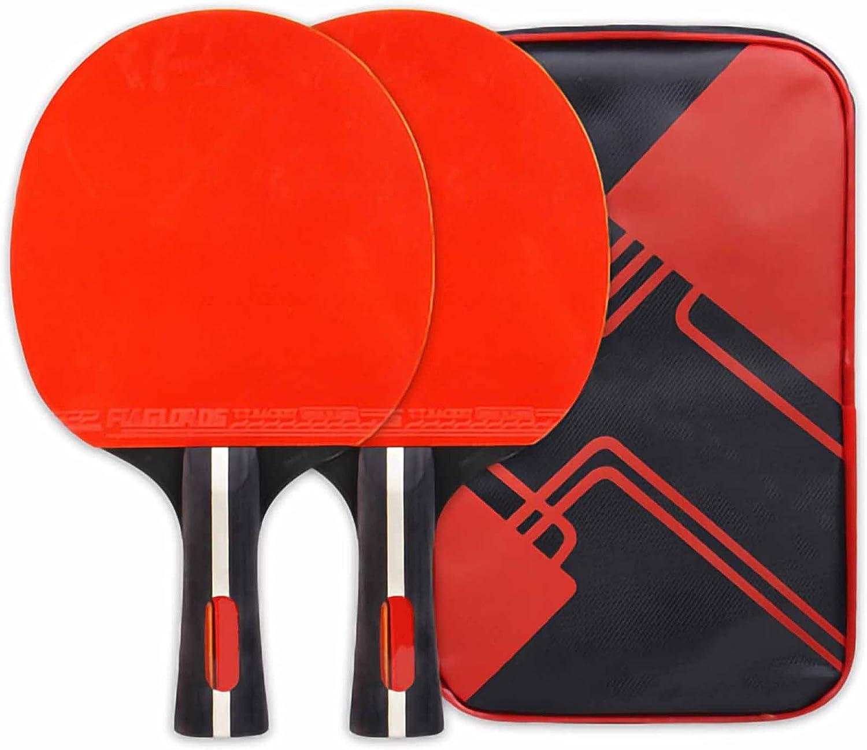 HXFENA Palas de Ping Pong,Bate de Tenis de Mesa Ofensivo Raqueta de Entrenamiento CompeticióN Principiantes,Goma de Esponja de Alta Elasticidad con Bolsa de Transporte / 3 Star/B
