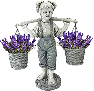 Garden Statues, Little girl carrying a flower bucket, Flowers for Felicity Little Girl Garden Statue, Two Tone Stone Garde...