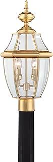 Quoizel NY9042B Newbury Outdoor Post Lantern Pier Mount Lighting, 2-Light, 120 Watts, Polished Brass (21