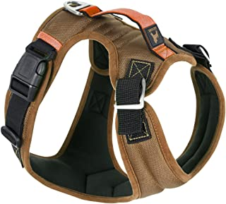 Gooby Pioneer Dog Harness with Control Handle & Seat Belt Restrain Capability, X-Large, Sand