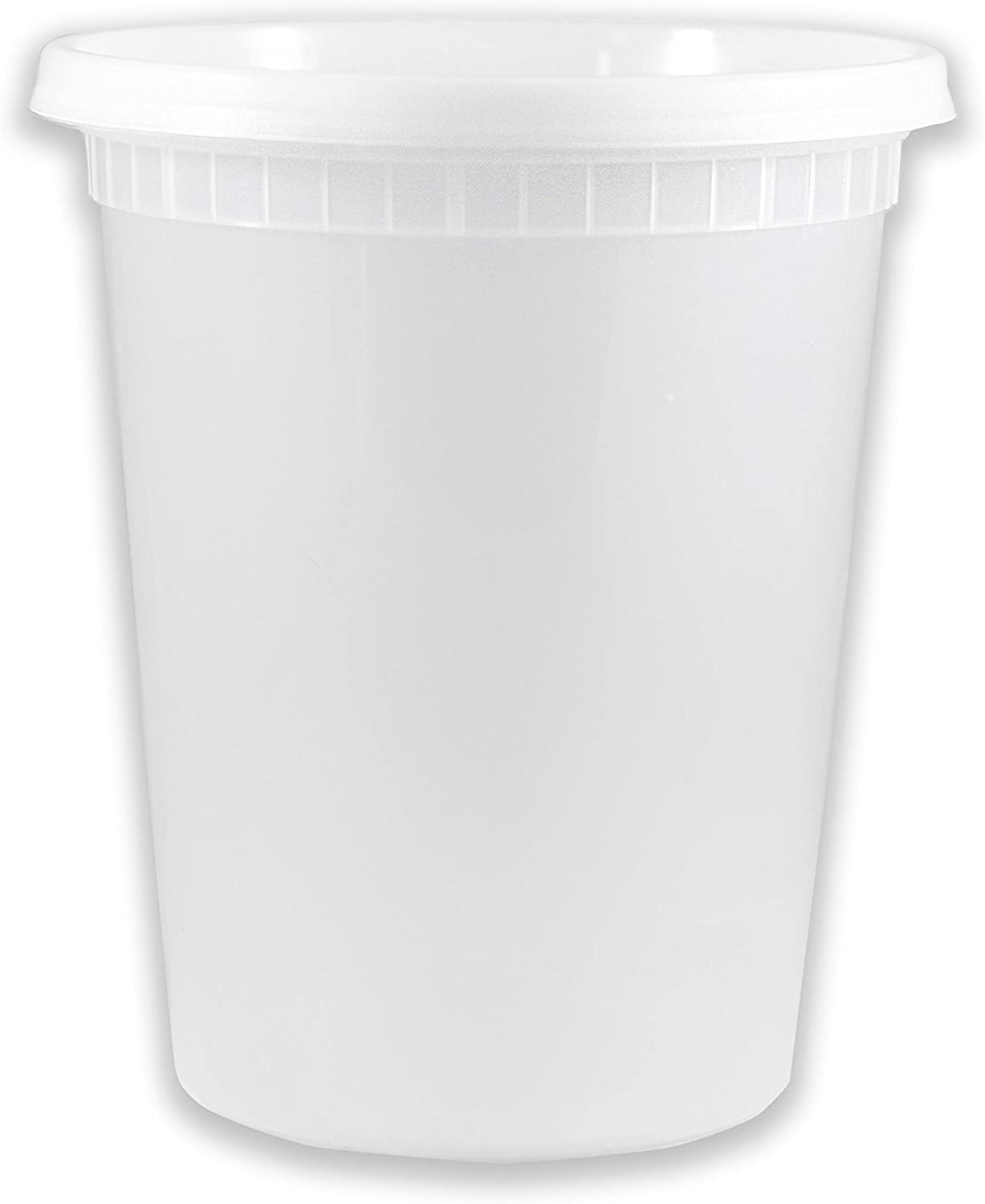 EDI 32 oz Deli 公式 Containers with Food Lids C Clear Plastic Storage 新商品!新型