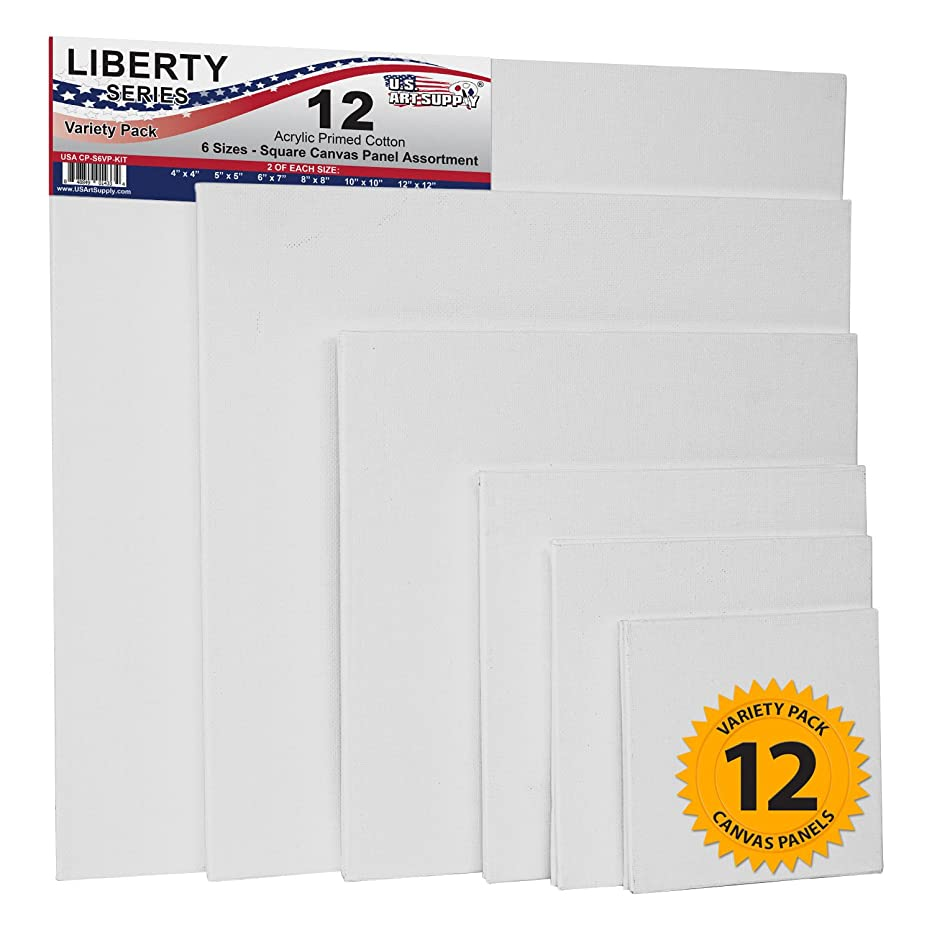 US Art Supply Square Variety Assortment Professional Artist Quality Acid Free Canvas Panels 12-Total Panels (2-EA: 12x12, 10x10, 8x8, 6x6, 5x5, 4x4)