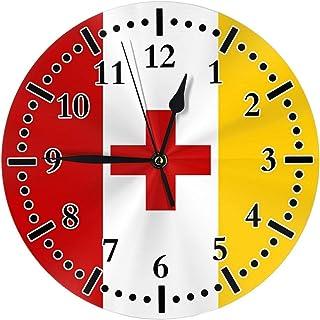 NBVCX Silent Non Ticking Decorative Round Wall Clock Quality Quartz Battery Wall Clocks Rustic Country Home Decor Round Wa...