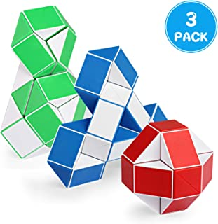 Ganowo 3PCS Large Size Fidget Snake Cube Twist Puzzle Magic Snake Sensory Toys Collection Brain Teaser Party Favors Game Halloween Goodie Bags Fillers for Kids Adults Teens
