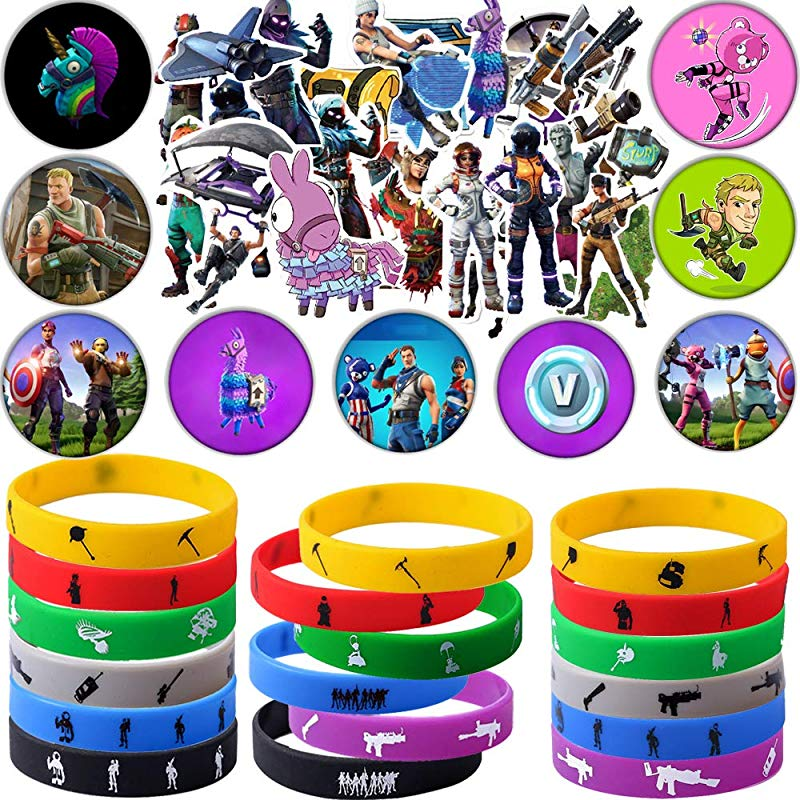 Game Party Supplies 76 Pack Gaming Gift Set Party Favors Include 24Pack Game Bracelet 12 Pack Badge Set Of 40 Stickers For Kids