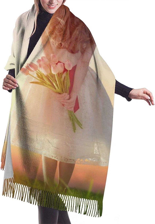 Cute cartoon forest animals Women's Fall Winter Tassel Scarf Warm Soft Chunky Large Blanket Wrap Shawl Scarves
