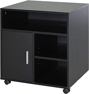 Support d'imprimante organiseur bureau caisson placard porte 3 niches + grand plateau panneaux particules noir