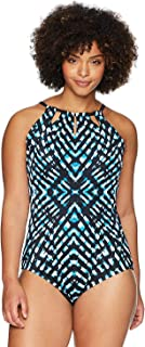Coastal Blue Women's Plus Size Control Swimwear Shirred One Piece Swimsuit with Front Detail