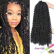 7 Packs Passion Twist Hair 18 Inch Water Wave Synthetic Braids for Passion Twist Crochet Braiding Hair Goddess Locs Long Bohemian Locs Hair (22Strands/Pack, 1B#)