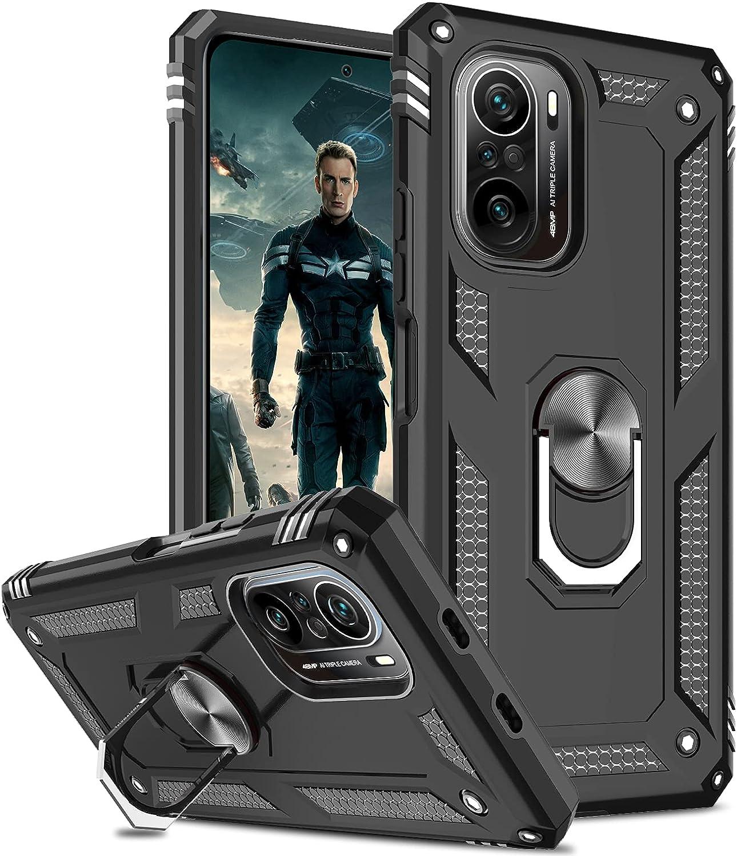 LeYi Funda para Xiaomi Poco F3 / Xiaomi Mi 11i 5g, Armor Carcasa con 360 Grados Anillo iman Soporte Hard PC Silicona TPU Bumper Antigolpes Case para Movil Xiaomi Poco F3 / Mi 11i, Negro