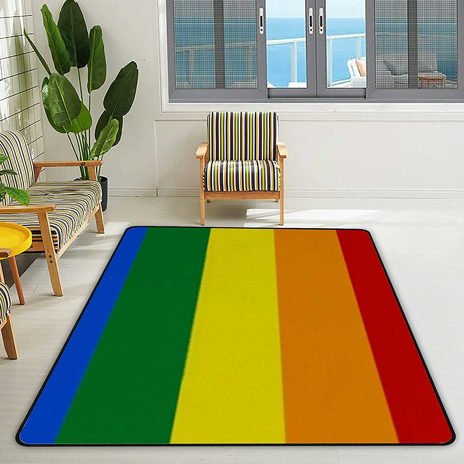 Area Rugs Topics on Indianapolis Mall TV Mat for Living Room Community Rainbow LGBT Symbol Flag