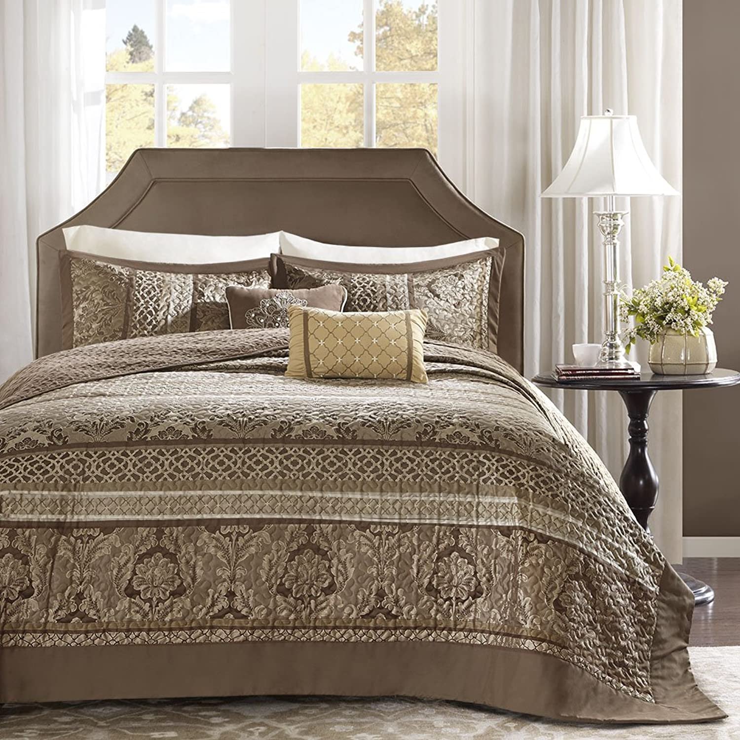 Madison Park Striped Bedspread Set, Oversize Queen, Brown gold