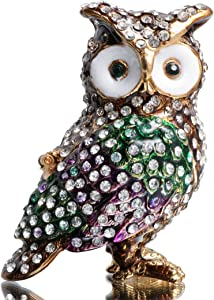 Waltz&F White Diamond owl Hand-Painted Trinket Box Animal Jewelrybox Figurine Collectible Ring Holder with Gift Box