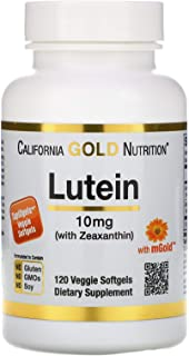 California Gold Nutrition Lutein with Zeaxanthin 10 mg 120 TapiOgels, Egg-Free, Gluten-Free, Fish-Free, Milk-Free, Peanut ...