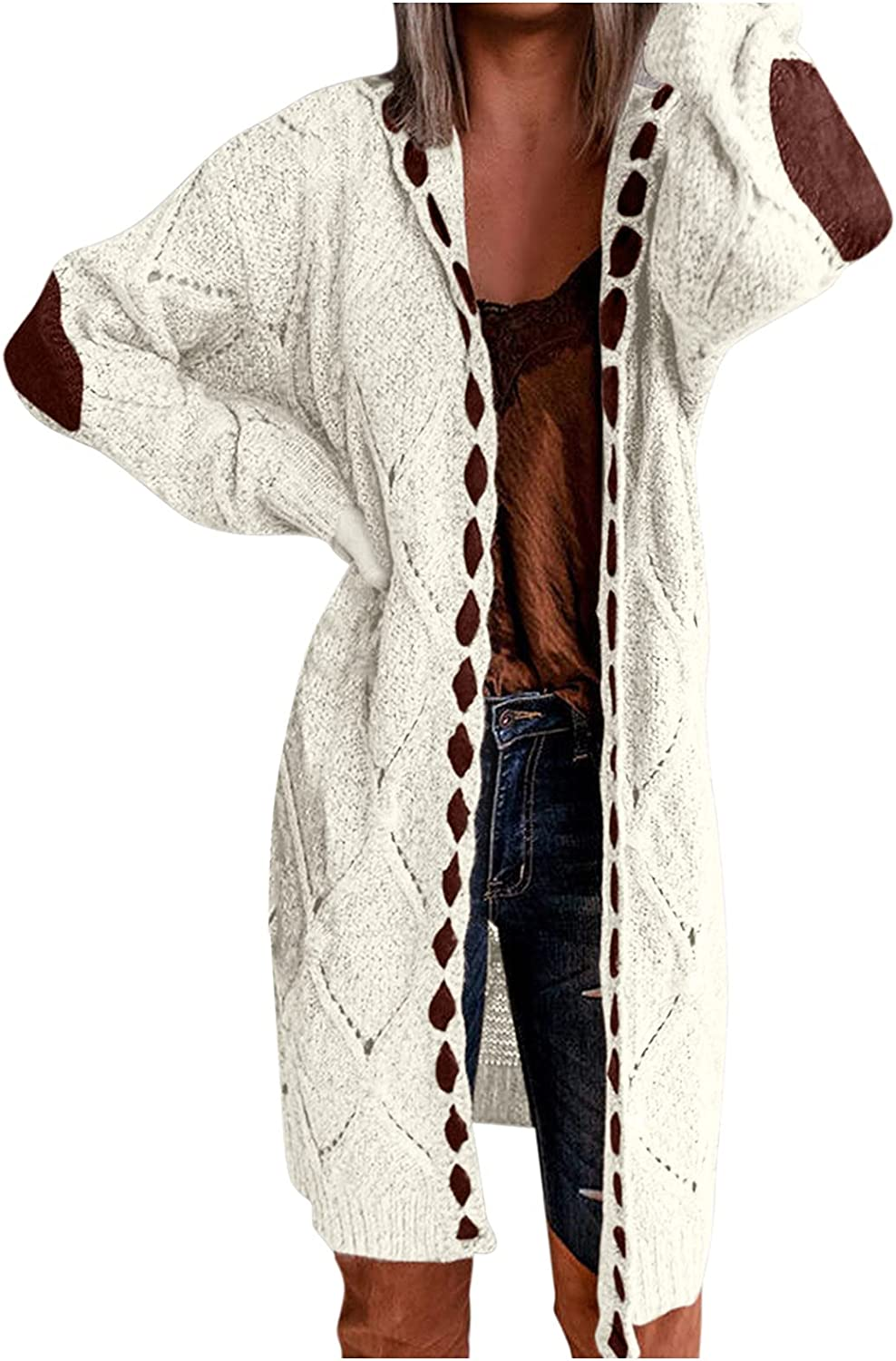 Sunhusing Women's Long Sleeve Open Front Casual Lightweight Soft Knit Cardigan Sweater Color Block Outerwear with Pockets