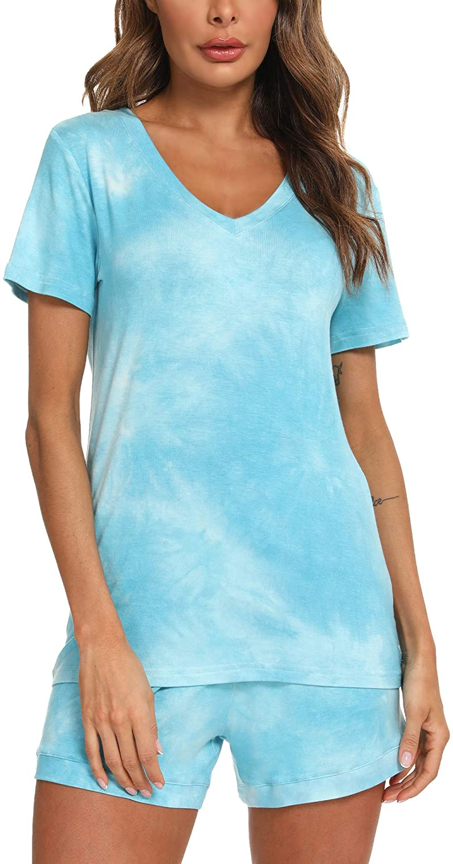 TIKTIK Womens Pajamas Set Short Sleeve Pjs Set Scoop Neck Top with Shorts Petite Plus Size Sleepwear S-4XL
