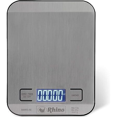 Rhino BAREC-5X Báscula Rectangular de Cocina 5 Kg / 1 g. Superficie de Acero Inoxidable Grado Alimenticio. Pesa en Onzas, Mililitros, Libras-Onzas y Gramos. Funciona Con 2 Baterías AAA Incluidas.