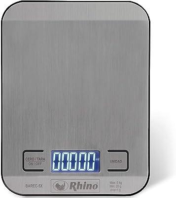 Rhino BAREC-5X Báscula Digital de Cocina. Báscula de Alimentos. Capacidad 5 Kg, Precisión 1g. Acero Inoxidable. Medición en Gramos, Libras y Onzas. Calcula el Volumen en Mililitros Onzas y Tazas.