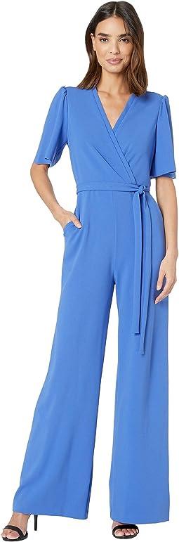 Short Flutter Sleeve Wrap Front Crepe Jumpsuit