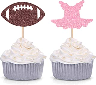 Tutu or Football Cupcake Toppers for Gender Reveal Party Decorations 24 Counts