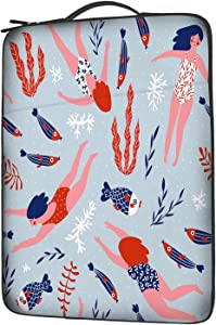 EKOBLA Girl Compatible Computer Laptop Sleeve Ocean Theme Fish Corals Algae Creature Animal Decorative Funny Cool 13 Inch