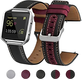 Mosstek Compatible with Fitbit Blaze Band Leather Soft Genuine Leather Replacement Strap Wristband with Metal Silver Frame Compatible Fitbit Blaze Fitness Watch Women Men