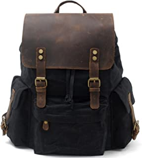 black leather canvas backpack