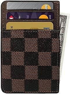 Slim Card Holder RFID Front Pocket Leather Designer Wallet - Brown