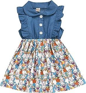 MAXIMGR Baby Girls Easter Bunny Ruffled Sleeveless Denim Dress Pleated Peter Pan Sundress