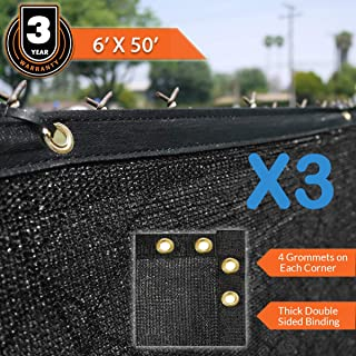 Clevr 6' x 50' Wind Privacy Screen Fence, Commercial Grade Fabric Mesh with Durable Grommets, Black (Set of 3-150' Long)   3 Year Limited Warranty 140GSM