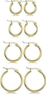 LOYALLOOK Stainless Steel Rounded Small Hoop Earrings Set for Women Nickel Free Hoop Earring Hypoallergenic 10-20MM