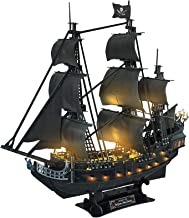 """CubicFun 3D Puzzles 26.6"""" Pirate Ship with 15 LED Bulbs for Adults Sailboat Model Building Kits Hobby Toy, Cool Room Decor..."""